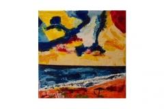 """n. 2 """"Mare, mare e ombrellone"""" - olio su tela, tecnica spatola, 50x50 – 2017"""