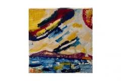 """n. 5 """"Mare e cielo…non sempre blu"""" - olio su tela, tecnica spatola, 50x50 - 2017"""